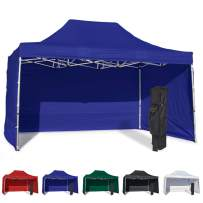 Vispronet 10x15 Instant Canopy Tent and 3 Side Walls – Commercial Grade Steel Frame with Water-Resistant Canopy Top and Sidewalls – Bonus Canopy Bag and Stake Kit Included (Blue)
