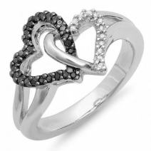 Dazzlingrock Collection 0.25 Carat (ctw) Black & White Diamond Ladies Split Shank Heart Love Promise Ring 1/4 CT, Sterling Silver