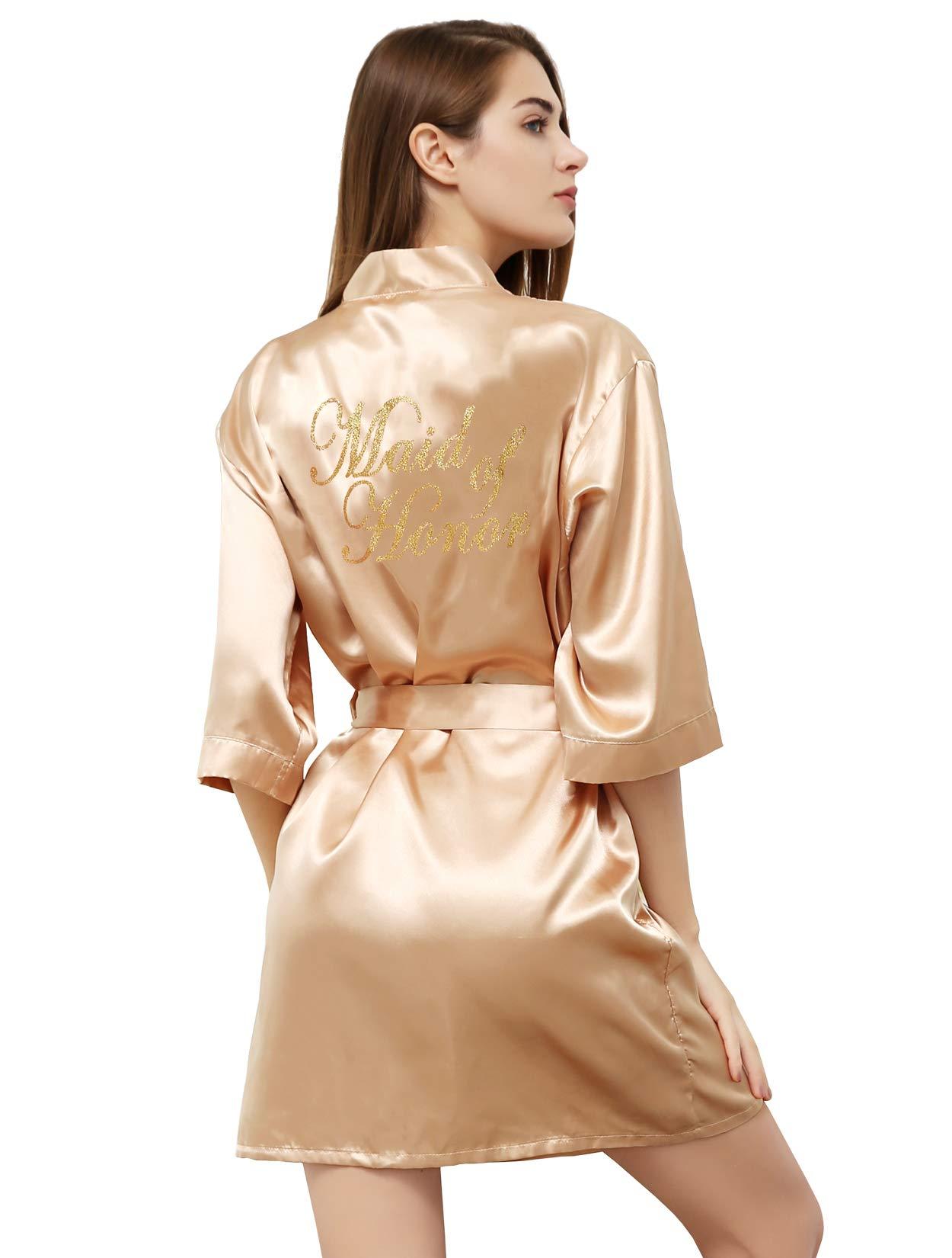 PROGULOVER Women Satin Kimono Robe for Bride Bridesmaid Robes Pajamas Wedding Party with Gold Glitter