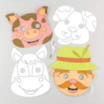 Baker Ross Farm Animal Colour in Mask Kits (Pack of 4) Assorted Farm Animal Masks for Kids to Decorate and Wear to Party's or Dressing Up