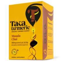 Taka Turmeric Tea, Organic Masala Chai, Turmeric Chai Tea Bags (1 x Carton (15 tea bags))