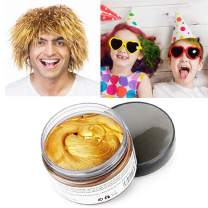 Gold Hair Color Wax, Instant Hairstyle Cream 4.23 oz, Temporary Natural Hair Wax for Party, Cosplay, Halloween, Daily use, Date, Clubbing (Gold)