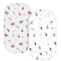TILLYOU Microfiber Woodland Bassinet Sheets, 32''x16'' Flexible for Different Cradle and Bassinet Mattress, Silky Soft Breathable Cozy Baby Cradle Sheets Unisex, 2 Pack Woodland Gray & White