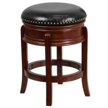 Flash Furniture 24'' High Backless Light Cherry Wood Counter Height Stool Carved Apron and Black Leather Swivel Seat