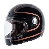 TORC T1 Unisex-Adult Retro Full-face-Helmet-Style Motorcycle (Copper Pin Gloss Black, X-Small)