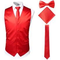 JOGAL Men's 4pc Tuxedo Vest Suit Vest Paisley Vest Set with Bow Tie Neck Tie & Pocket Hanky