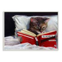 Stupell Industries Cat Reading a Book in Bed Funny Painting Wall Plaque, 13 x 19, Design by Artist Lucia Heffernan