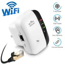 WiFi Range Extender Repeater, 300Mbps Wireless Router Signal Booster Amplifier Supports Repeater/AP, 2.4G Network with Integrated Antennas LAN Port