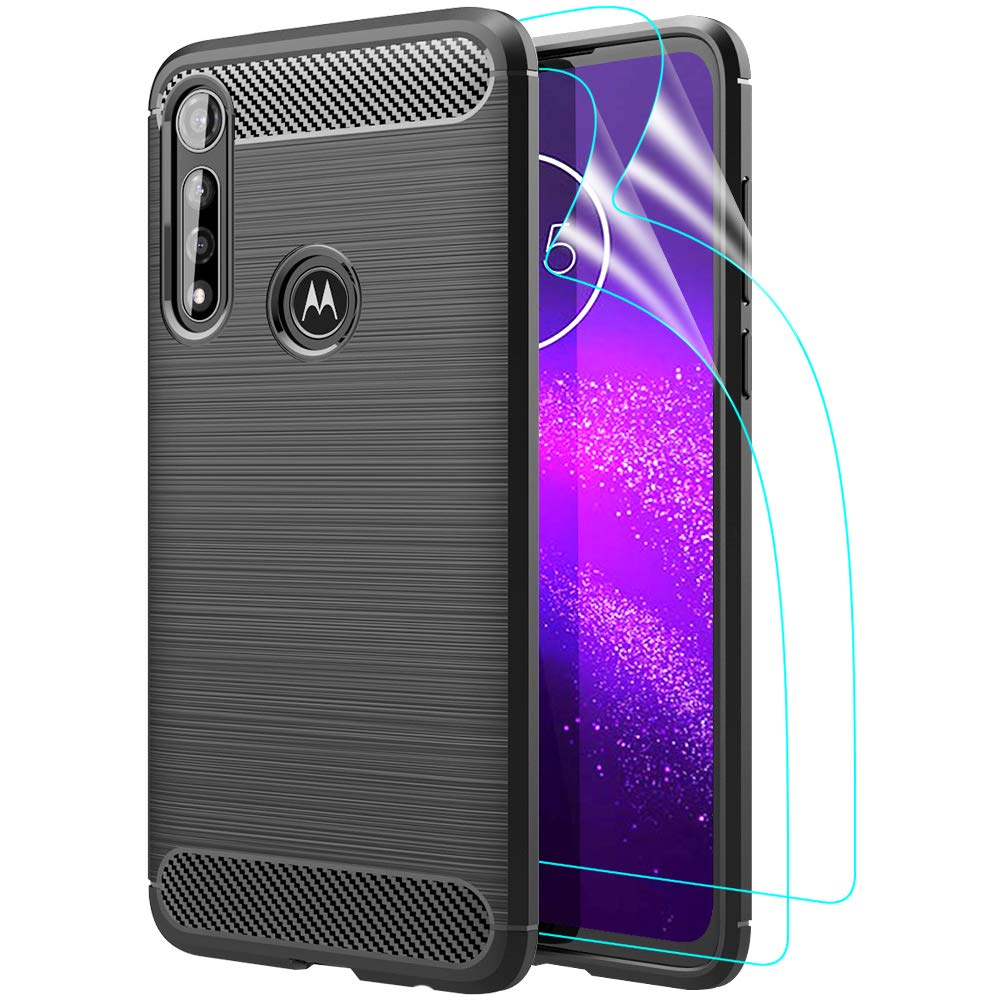 GSDCB Motorola Moto G Power Case 2020, Motorola G Power Case with HD Screen Protector Air Cushion Shockproof Carbon Fiber Phone Protective Cover Brushed Texture Soft TPU Slim Fit for Women Men (Black)