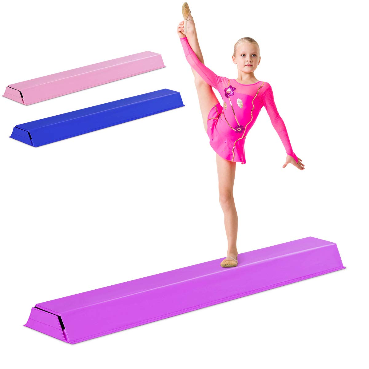 Giantex 4 Ft Floor Balance Beam Gymnastics Equipment for Beginners & Professional Gymnasts Skill Performance Training Easy Storage