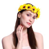 Campsis Wedding Flower Crown Sunflower Bridal Flower Wreath Headband Bridal Hair Wreath Headpiece Hair Accessory for Women and Girls