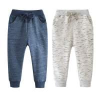 Qin.Orianna Little Boys Cartoon Pattern Cotton Drawstring Elastic Sweatpants Sport Jogger Pants with Pocket