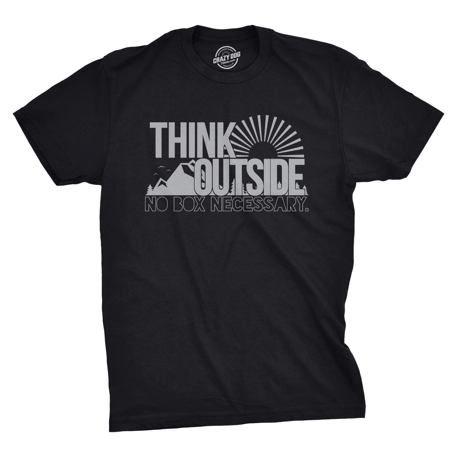 Mens Think Outside Funny No Box Necessary Hiking Camping Vintage Graphic T Shirt