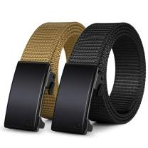WONDAY Nylon Ratchet Belt 2 Pack, Web Belts for Men Nylon Belt with Automatic Slide Buckle, No Holes Woven Casual Mens Belts Fully Adjustable to Exact Fit