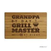 Andaz Press Laser Engraved Small Bamboo Wood Cutting Board, 9.5 x 6-inch, Grandpa by Day Grill Master By Night, 1-Pack, Father's Day Birthday Christmas Gift Ideas