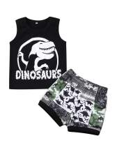 Toddler Baby Boys Summer Outfits Dinosaur Vest Tops with Splice Shorts Clothes Sets