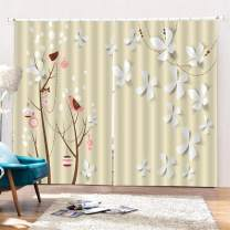 """SK Studio Printing Decor Curtain, 3D Window Polyester Curtains Light Blocking for Living Room Bedroom, 2 Panels Set Children's Painted Trees and Bird 104"""" W by 84"""" L"""