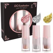 JDO Liquid Eyeshadow Shimmer Glitter Eye Shadow Kit Waterproof Eyeliner Eye Makeup Long Lasting High Pigment Cosmetics 3 Colors Metallic Pink Silver Gold for Glow Look