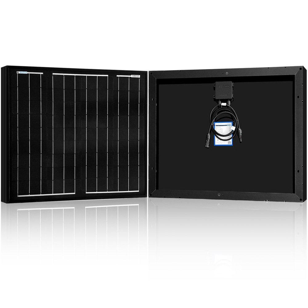 ACOPOWER All Black 50W Mono Solar Panel for 12V Battery Charging, Off Grid