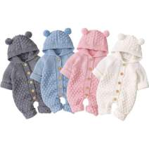 Fall Winter Newborn Baby Girls Long Sleeve Knitting Hooded Sweater Cardigan Bear Ear Outerwear Romper Jumpsuit Outfits