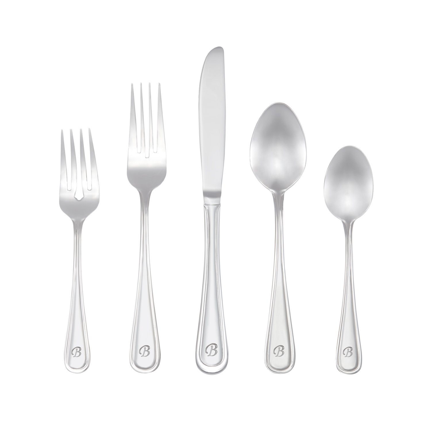 RiverRidge Home Marina Monogrammed Flatware Set, 46, Silver