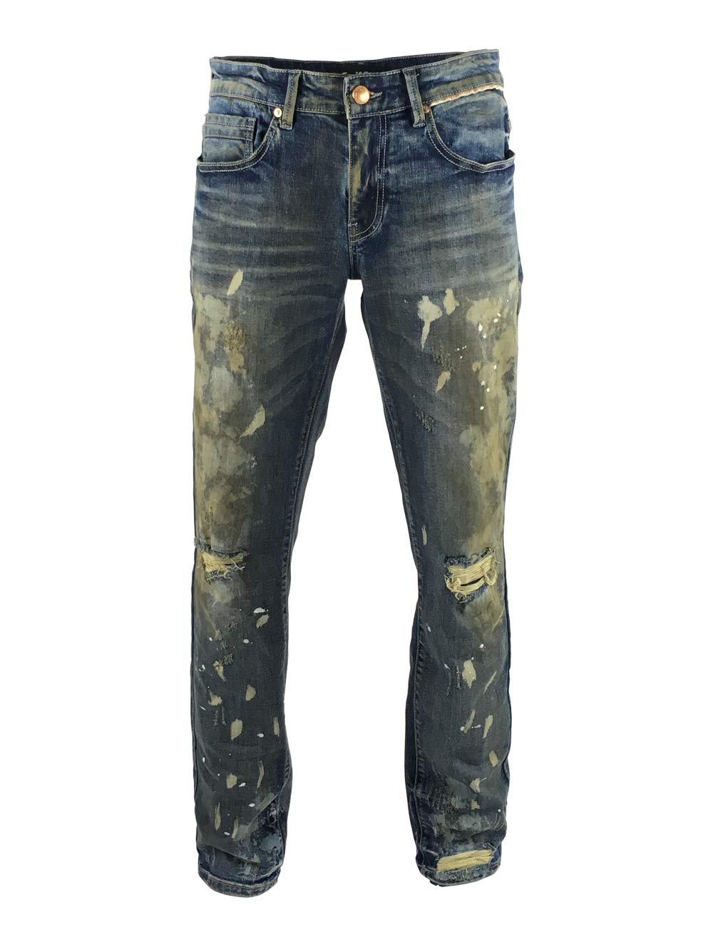 S-JACOL Men's Denim Biker Moto Destroyed Skinny Spray Paint Jeans with Holes