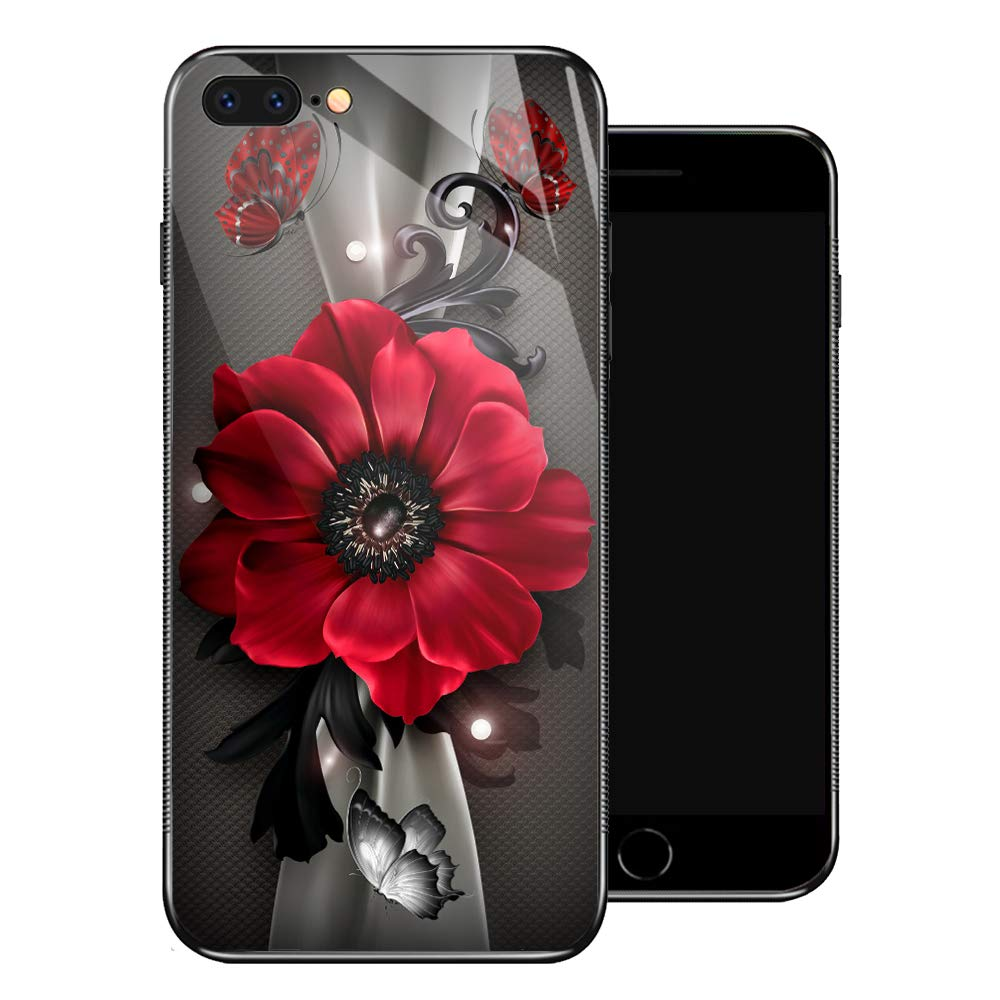 iPhone 8 Plus Case,Red Flowers Butterflies iPhone 7 Plus Cases for Girls,Tempered Glass Pattern Design Back Cover [Shock Absorption] Soft TPU Bumper Frame Support Case for iPhone 7/8 Plus Sunflower