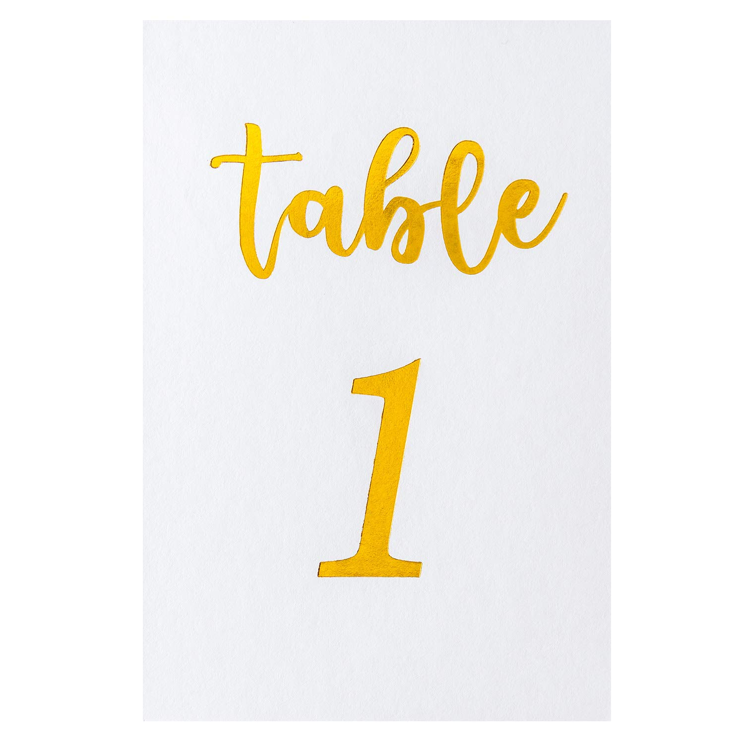 Crisky Table Number Cards Gold Foil for Wedding, Anniversary, Birthday, Bridal Shower Party. Double-Sided Design 4 x 6 Inch Number 1-25 & Head Table.