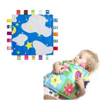 StoHua Sensory Teething Closed Ribbon Tag Baby Blanket, Beautiful Blue Taggy Blanket(Starry Sky)