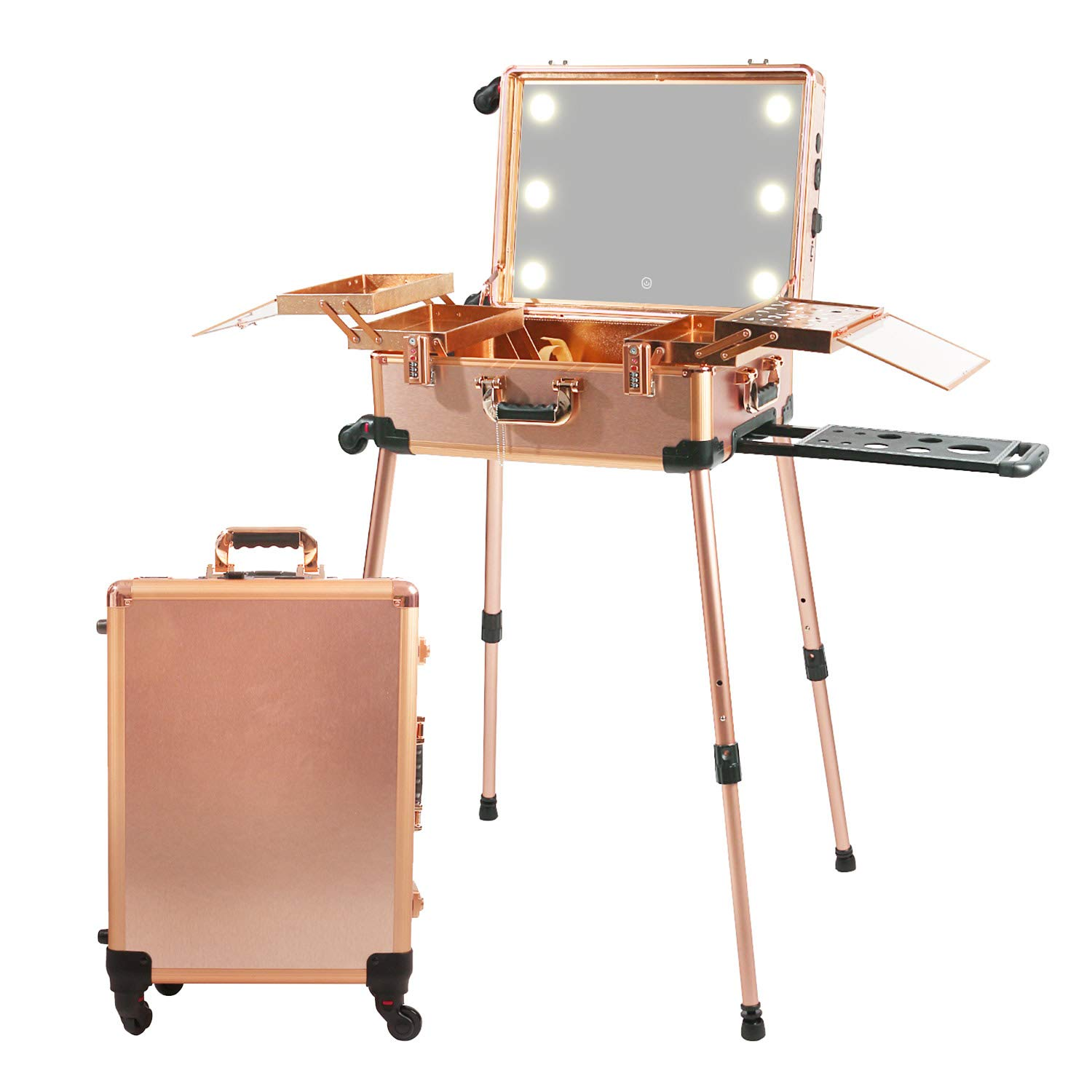 Jula Vance Large Makeup Train Case with Bluetooth Speaker & Code Lock & Full Screen Lighted Mirror & 3 Light Colors Lighted Rolling Cosmetic Organizer, Professional Artist Trolley Studio Free Standing