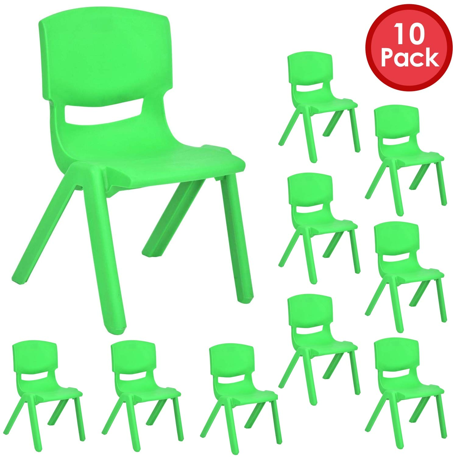 JOON Stackable Plastic Kids Learning Chairs, 20.8x12.5 Inches, The Perfect Chair Sets for Playrooms, Schools, Daycares and Home, Colorful Design (Green, 10 Pack)