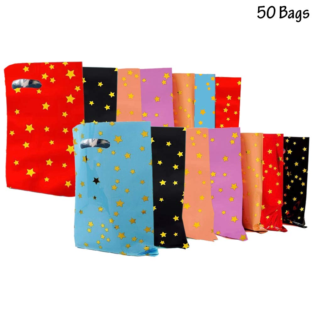 50 Pieces Of Plastic Party Favor Bags Foil Shiny Starry Silver Golden Stars Strong With Handle Good For For Birthdays Candies Party Wedding Gifts Favor Bubble School Christmas Baby Shower Halloween ThanksGiving Squishes Toys Food Wedding