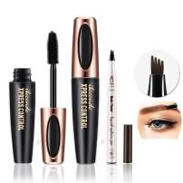 DC-BEAUTIFUL 4D Eyelash Mascara Cream and Tattoo Eyebrow Pencil (Chestnut) Set, Waterproof Eyebrow Pen with Micro-Fork Tips, Natural Thickening Curling Mascara, Beauty Make up Set Must