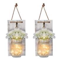 Mason Jar Sconces Rustic Wall Sconces with Fairy Light String and Silk Hydrangea, Decorative Flower Wall Decor