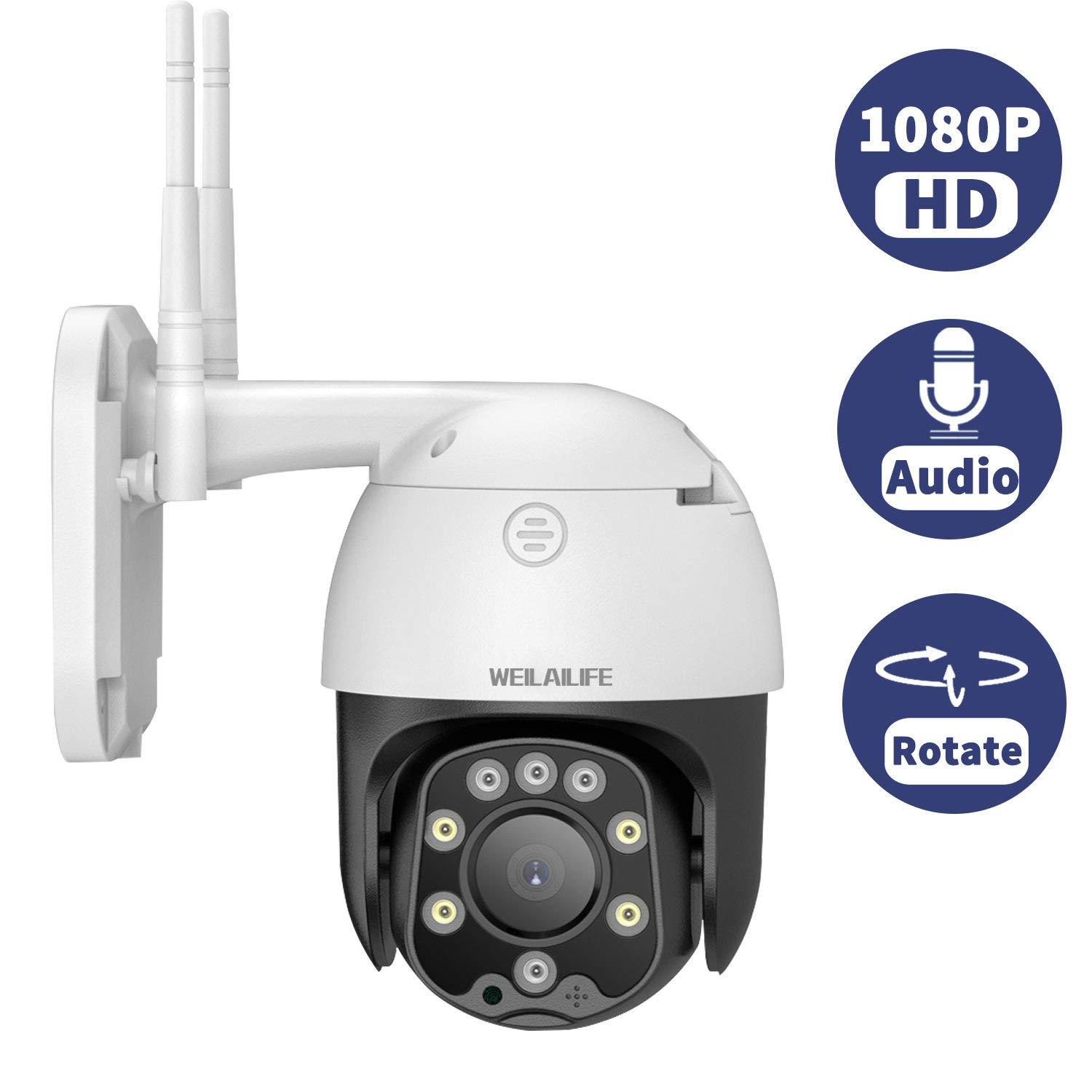 Home Outdoor PTZ Security Camera, 1080P 2.0 Megapixel Wireless Surveillance Camera with Pan/Title, Built in SD Card Slot, Night Vision, App Remote Monitor, Two Way Audio