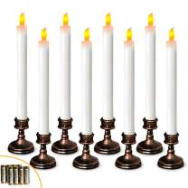 Window Candles Window Lights Candle for Window with Battery Operated Aged Bronze Base 11.6 Inches Tall Include 16 AAA Batteries(Amber Yellow)