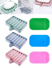EUICAE Soap Dish Bar Soap Holder Soap Dishes Tray Saver Case Box for Shower Bathroom Kitchen Dish Drainer Drying Rack Pack of 3 + 3 Slip Resistant Anti-Slip Pads