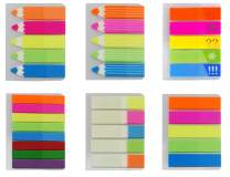 4A Sticky Notes Flags Set,Neon Color Page Marker Fluorescent Color Index Label, Transparent Tabs Flags Stickers, Text Highlighter Strips Writable Labels Page Marker Bookmarks,6 Pads/set,4A 66113