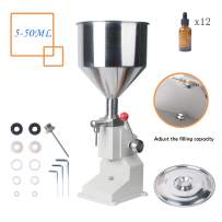 Bottle Filling Machine 5-50ML (A03) by Wadoy,Manual Filling Machine with 12 Extra Bottles for Cream Shampoo Stainless Steel Bottle Filler Liquid Cosmetic Filling Machine