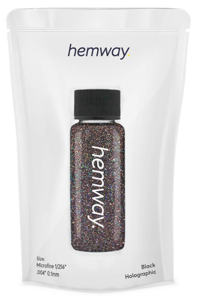 "Hemway Glitter Tube Ultra Fine 1/256"" Premium Sparkle Gel Nail Dust Art Powder Makeup Pigment Eyeshadow Face Body Eye Cosmetic Safe - 12.8g / 0.45oz (Black Holographic)"