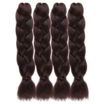UHair Dark Brown Kanekalon Braiding Hair Extensions Jumbo Braid Crochet Colorful Hair High Temperature Synthetic Fiber Hair Extension for Women(100G/pc, 4 pcs/lot)