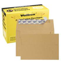 ValBox A4 Photo Envelopes 100 Qty 4 x 6 Brown Kraft Paper Envelopes Self Seal for 4x6 Cards, Photos, Weddings, Invitations, Baby Shower, 4.25 x 6.25 Inches (A4)