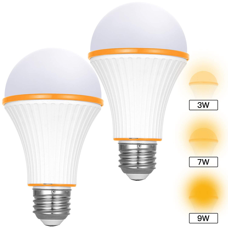 Amber Light Bulbs, 3 Modes Switch Night Light Bulbs, 720 Lumens 1800K E26/E27 Base Low Blue Night Light Bulbs for for Baby Nursery Sleeping Bedtime Reading Bedroom 2 Pack