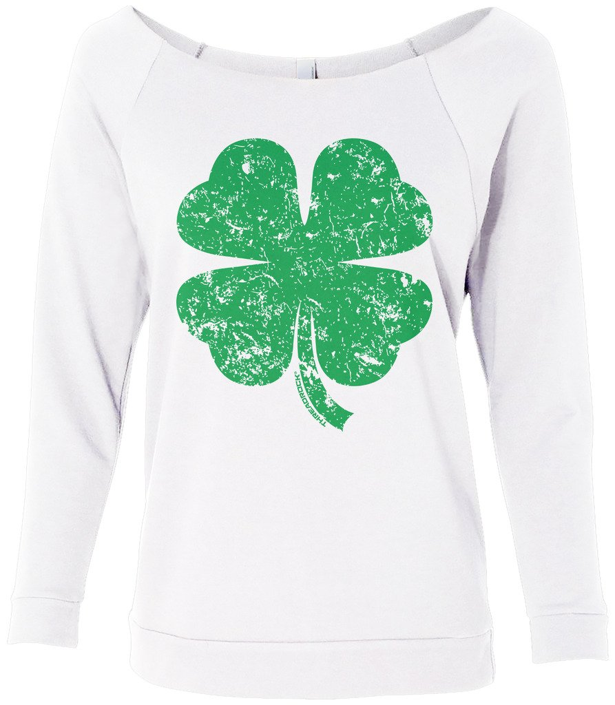 Threadrock Women's Distressed Green Four Leaf Clover Raw-Edge Raglan Shirt