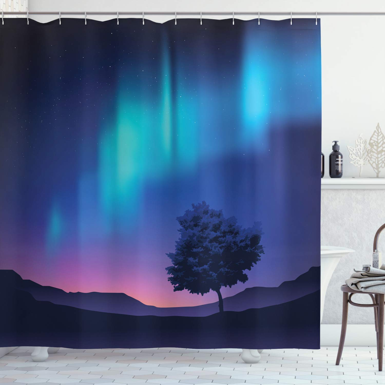 """Ambesonne Fantasy Shower Curtain, Aurora Borealis with a Tree in Arctic Region Rare Sky up View Print, Cloth Fabric Bathroom Decor Set with Hooks, 84"""" Long Extra, Blue Purple"""