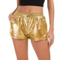 Women's Yoga Hot Shorts Shiny Metallic Pants with Elastic Drawstring Sparkle Rave Dance Shorts