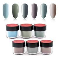 6 Box/Set Fine Dipping Powder Light Grey Colors No Need Lamp Cure Dip Powder Nails,Like Gel Polish Effect, Even & Smooth Finishing (95-96-105-32-97-60-10g/box)