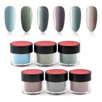 6 Box/Set Fine Dipping Powder Light Grey Colors No Need Lamp Cure Dip Powder Nails,Like Gel Polish Effect, Even & Smooth Finishing (95-96-105-32-97-60-10g/box)