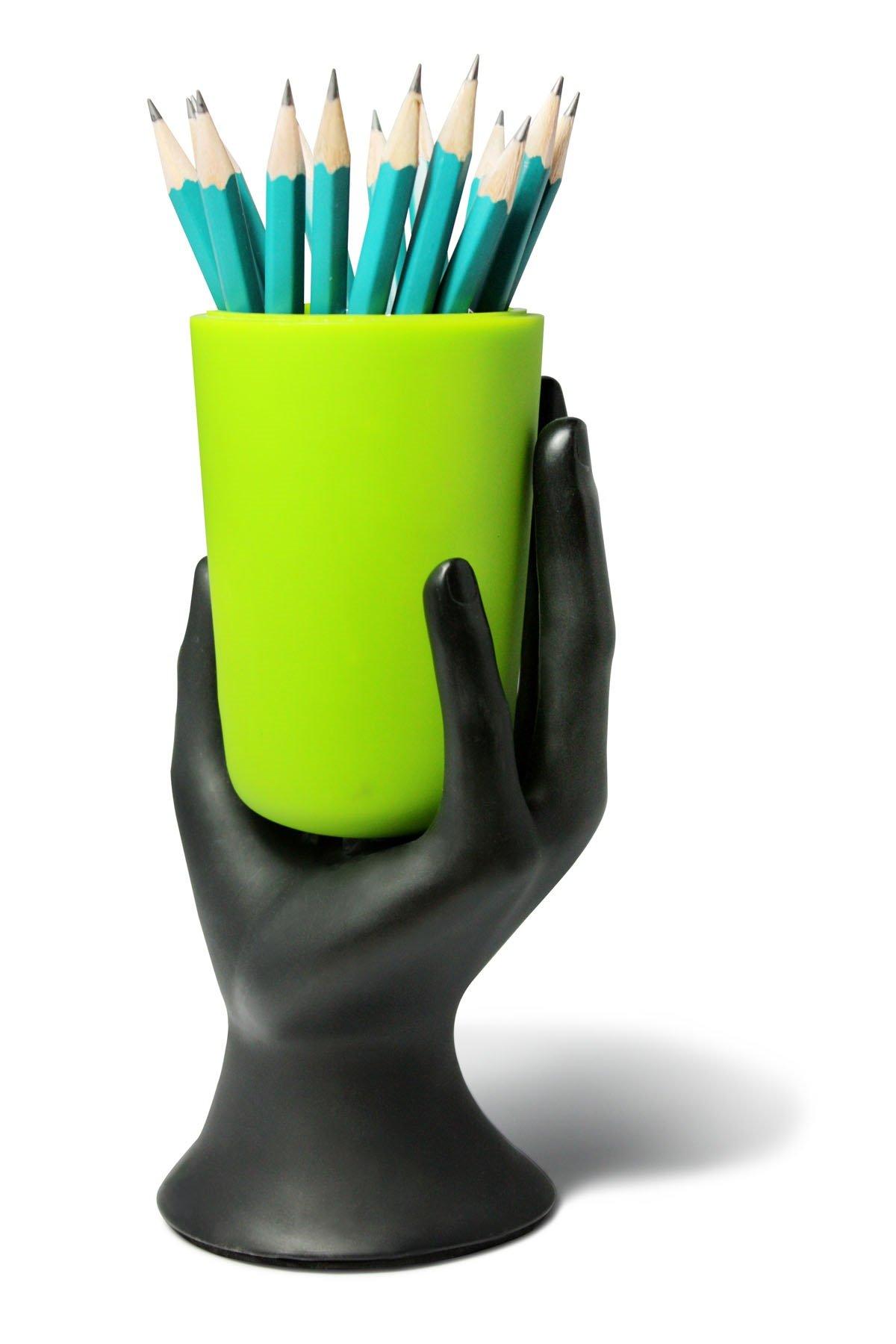 ARAD Hand Cup Pen/Pencil Holder (Black/Green)