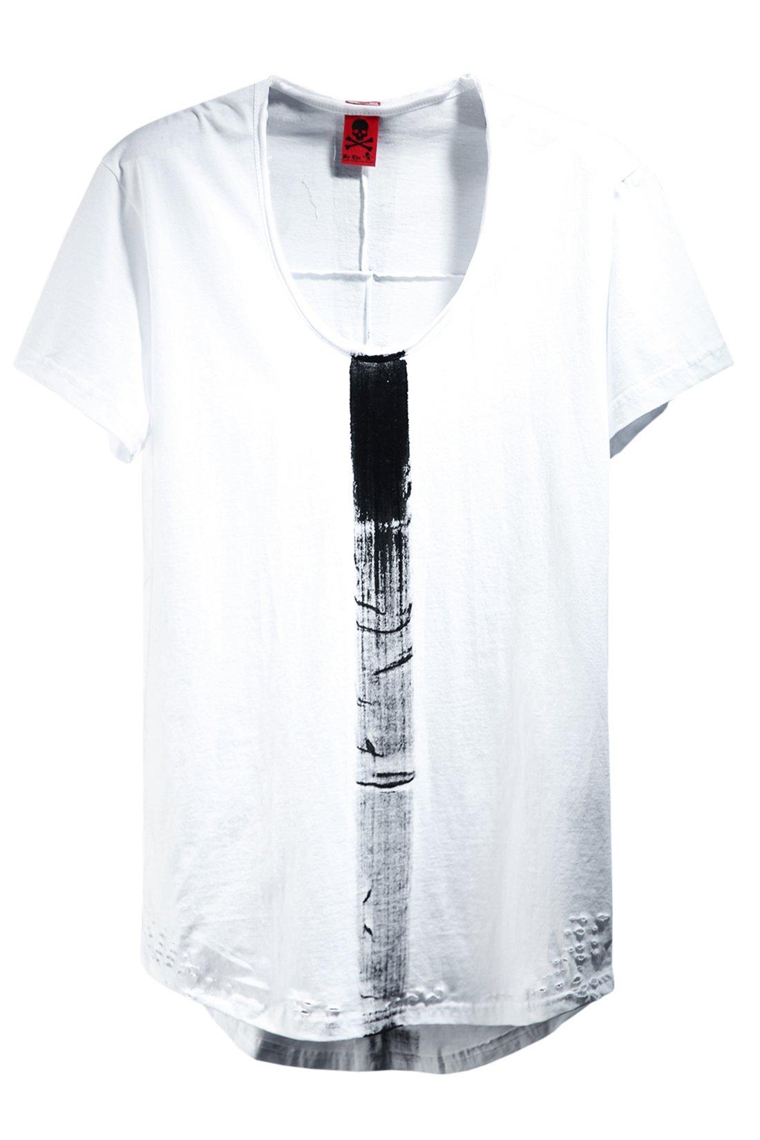 ByTheR Men's Stylish U Neck Vintage Damaged Custom Paint Solid Loose T-Shirts White